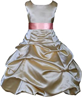 ekidsbridal Wedding Pageant Party Satin Gold Flower Girl Dress Occasions Toddler 806s