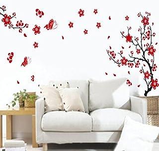 Cereza Ciruela Flores Mariposas Pared Sticker Adhesivo Pegatina Decoración
