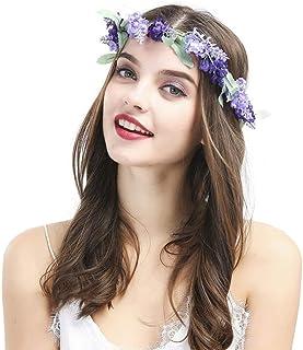 Minkissy Floral Headband Lavender Flower Garland Crown Brida Hair Wreath for Festival Party Holidays Photo Taking (Purple)