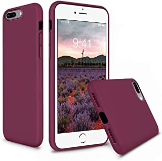 Vooii iPhone 8 Plus Case, iPhone 7 Plus Case, Soft Silicone Gel Rubber Bumper Case Microfiber Lining Hard Shell Shockproof Full-Body Protective Case Cover for iPhone 7 Plus /8 Plus - Burgundy