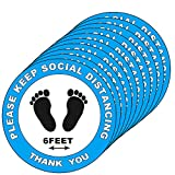 "30 Pack Social Distancing Floor Decals Signs Stickers - Please Keep 6 Feet Apart Distance - 8"" Round for Crowd (Blue)"