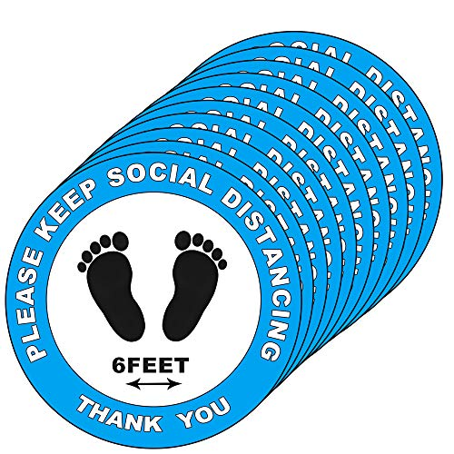30 Pack Social Distancing Floor Decals Signs Stickers - Please Keep 6 Feet Apart Distance - 8' Round for Crowd (Blue)