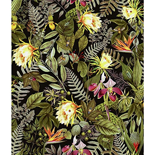 RoomMates Tropical Flowers Peel and Stick Wallpaper, Black/Green