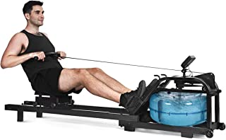 GYMAX Water Rowing Machine, Adjustable Water Resistant Rower with LCD Screen & Moving Wheels, Max Weight 265 lbs Workout Rowing Machine for Whole Body Exercise, Home/Gym