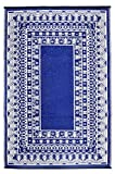 Green Decore Reversible Outdoor/Indoor Recycled Plastic Rug | Perfect for Garden, Patio, Picnic, Decking |Mildew, UV, Stain And Water Resistant| Fresco Dark Blue/White 120x180 cm, 10027