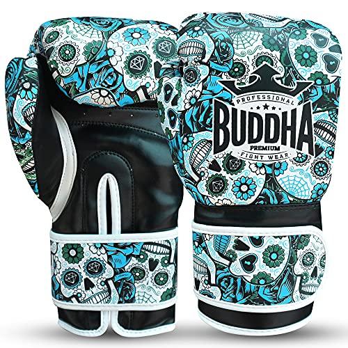 Buddha Fight Wear Guantes de Boxeo Mexican Premium (14 Onz, Azul)