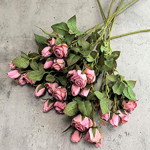 YYHMKB Artificial Roses, Realistic Artificial Rose, 3 Branch 15 Heads,Suitable For Diy, Wedding Decor, Colours And Looks Like Real Dried Flowers Pink