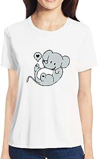 Pooplu Womens Cute Elephant Cotton Printed Round Neck Half Sleeves Black & White t Shirt. Animal Tshirts