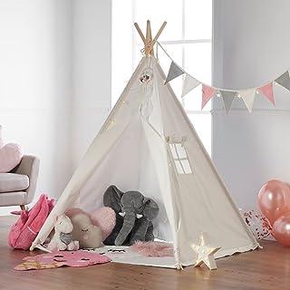 Haus Projekt Barn TeePee med ljusslingor, flaggväv och vattentät bas 160 cm Tipi-tält (rosa)