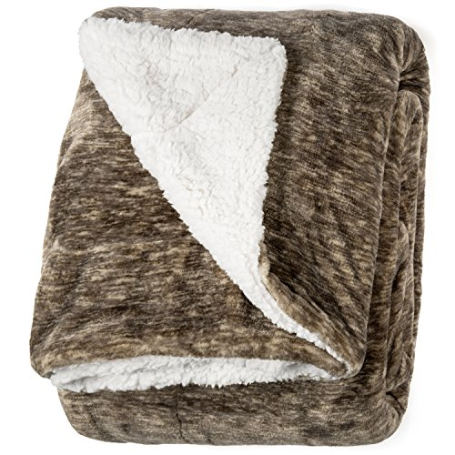 """Life Comfort Microfiber Plush Polyester 60""""x70"""" Large All Season Blanket for Bed or Couch Ultimate Sherpa Throw, Brown Quartz"""