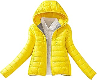 US&R Women's Casual Fitted Hooded Puffer Jacket Zipped Autumn Spring Bomber Coat