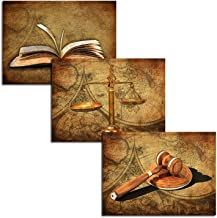 HOMEOART Scales of Justice Legal Pictures Lawyer Office Decor Law Themed Painting Canvas Giclee Printings Stretched Framed Easy to Hang 12