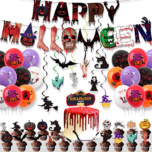 Halloween Decoration Set, 50Pcs Horror Party Supplies Including Happy Halloween Banner Balloons Cake Toppers Hanging Swirls for Indoor Outdoor Party Bar Home Decor