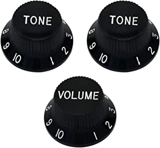 Metallor Speed Control Knobs 1 Volumn 2 Tone Fits Metric Pots Knobs Compatible with Fender Strat Stratocaster Style Electric Guitar Parts. (Black)