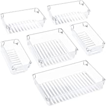 Kootek Desk Drawer Organizer Trays with 3-Size Large Capacity Storage Drawer Dividers Customize Layout 6 Bins for Bedroom Dresser Bathroom Kitchen