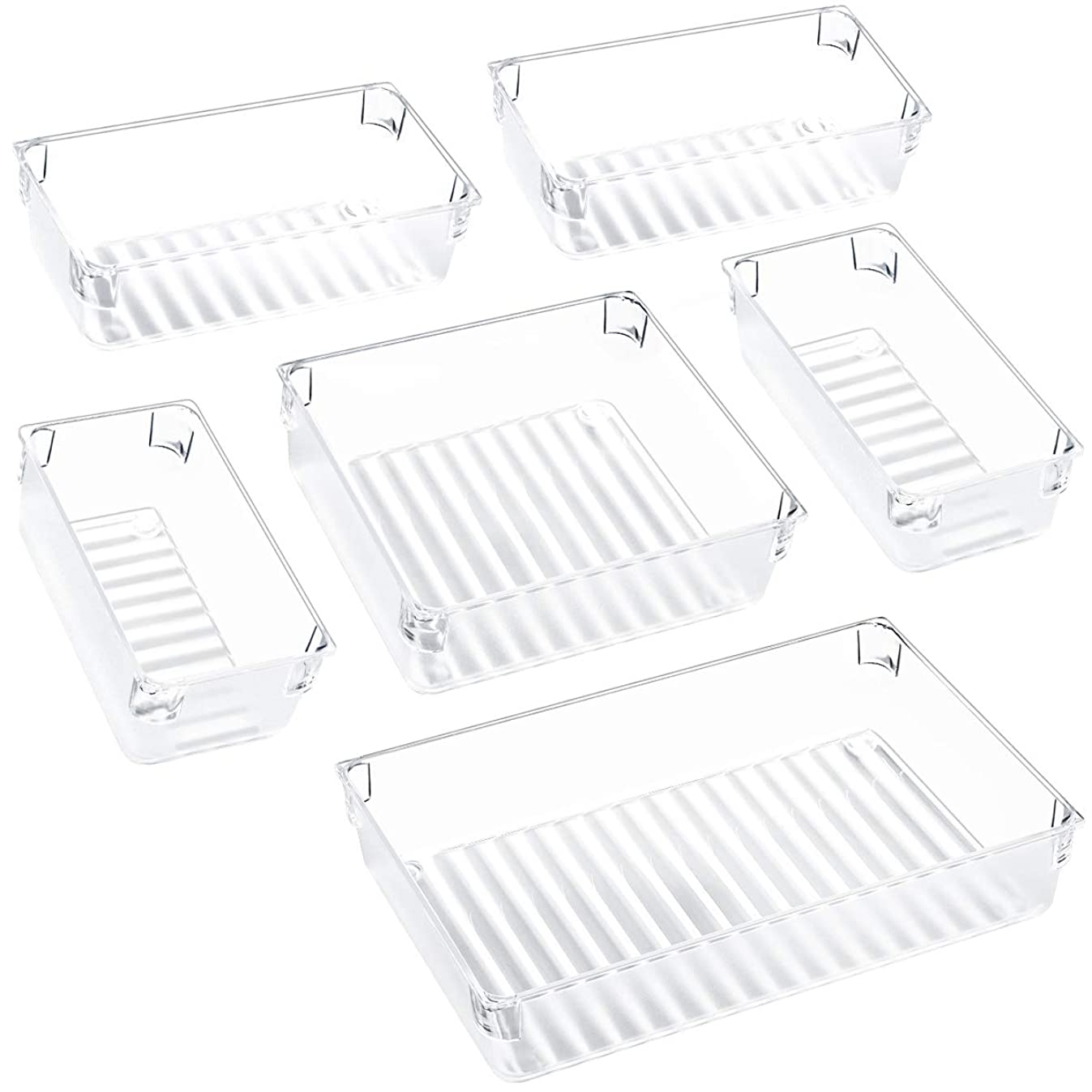 Kootek Desk Drawer Organizer Trays with 3-Size Large Capacity Storage Drawer Dividers Customize Layout 6 Bins for Bedroom Dresser Bathroom Kitchen