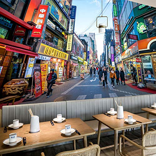 Gtfzjb Hintergrundwandmalerei Korean Street Night Scene Gebratenes Huhn Bier Snack Wallpaper @ 250 * 175cm