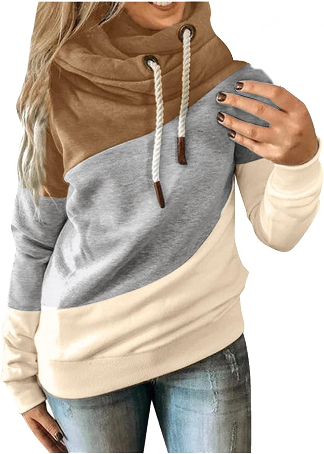 National uniform free shipping TOWMUS Womens Hoodies Cowl Neck Tops Complete Free Shipping Sleeve Long Splice Pullover