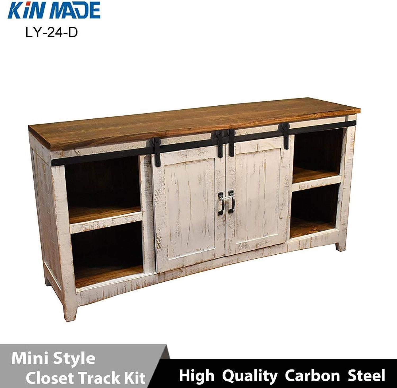 Mini Cabinet Barn Door Hardware Flat Track Wooden Sliding Door System Kit  (Length  1.5m Double Door kit)