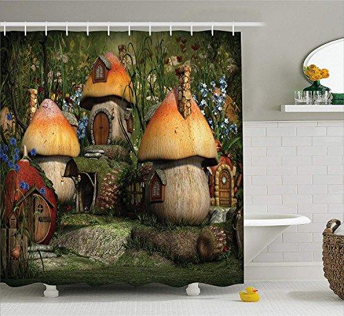 Duschvorhang mit Bauernhof-Motiv, von Mushroom Houses im Wald, Märchenmotiv, Fantasy-W&erland-Zwerg, Kinderzimmer-Motiv, Stoff, mit Haken, 180 cm lang, Mehrfarbig