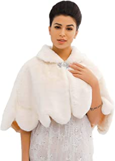 Zoestar Women's Faux Fur Shawls and Wraps Wedding Fur Scarf Winter Fur Cape for Brides and Bridesmaids