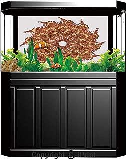 Aquarium Fish Tank Background,Henna,Eastern Civilization Inspired Floral Tattoo Design Mehndi Motif Illustration Decorative,Mustard Dark Orange,Decor Paper Green Water Grass Aquatic Style Like Real,W2