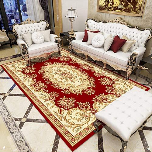 Kunsen Alfombras Lavables Dormitorio Rojo Alfombra Salón Rojo Estampado Floral Vintage Alfombra de Mesa Duradera Alfombra Pequeña Dormitorio El 140X200CM Alfombra Habitacion Niño 4ft 7.1''X6ft 6.7''