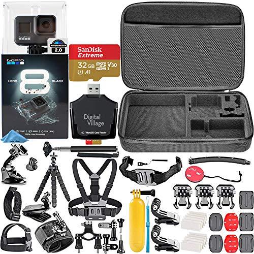 GoPro HERO8 Black + SanDisk Extreme 32GB Memory Card + Hard Case + Card Reader + Chest Strap Mount + Head Strap Mount + Flexible Tripod + Monopod + Floating Handle + Hero 8 Best Value Bundle