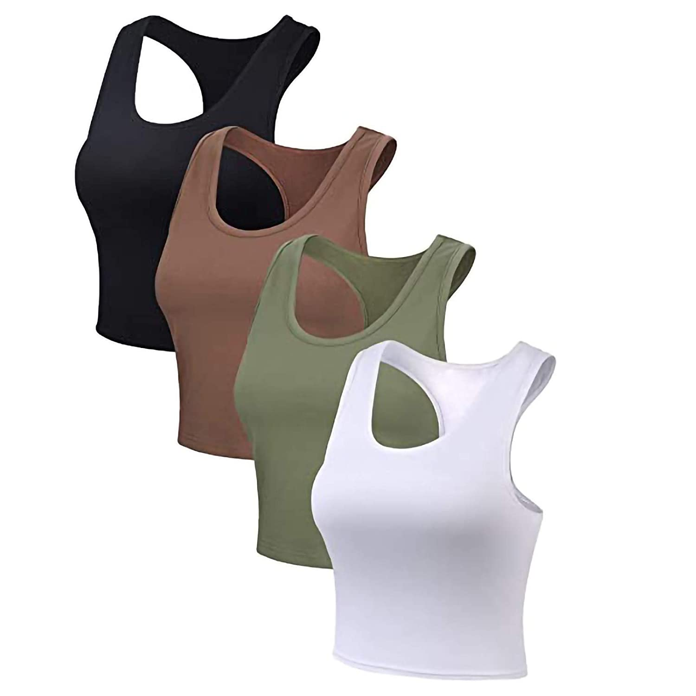 4Pcs Women's High Neck Longline Sports Bra Crop Top Yoga Tank Top with Built in Bra Solid Color Vest Plus Size