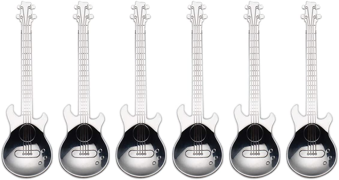 Max 79% OFF Guitar Coffee quality assurance Spoons 6-Park Creative 10 Stainless 18 Cute