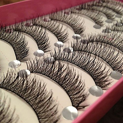 XdiseD9Xsmao 10 Paires Doux Naturel Noir Longue Épaisse Base Croisée Maquillage Faux Cils Durable Léger Cils Yeux Extension