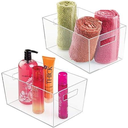 mDesign boite de rangement avec poignées intégrées (lot de 2) – grande caisse de rangement pour maquillage, serviettes et shampoing – boite de rangement salle de bain pratique – transparent