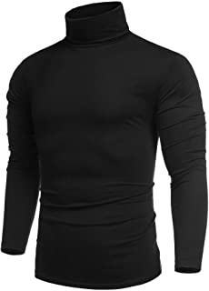 COOFANDY Men's Casual Slim Fit Turtleneck T Shirts Lightweight Basic Cotton Pullovers