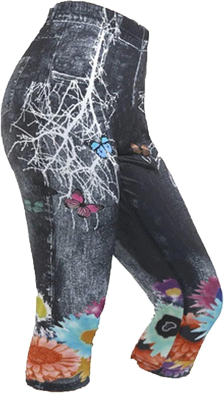 Amazingdays Capri Jeans for Women High Waist Skinny Jeans Plus Size Distressed Printed Trendy Jeans Denim Pants