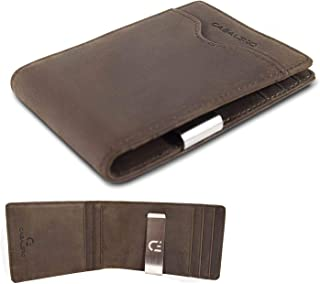 Cabaleiro Mens Slim Brown Leather Bifold Credit Card Wallet With Money Clip and RFID Blocking