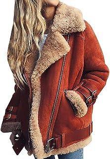 LONMEI Abrigo De Mujer - Chaqueta De Solapa CáLida con Bolsillos De Piel SintéTica De Invierno con Bolsillos