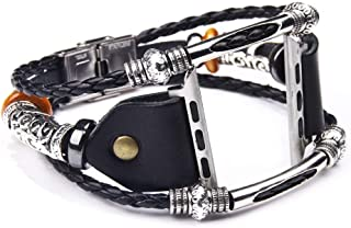Fancy Watch Band Vintage Art Style Wirst Strap Belt Handmade Bracelet Unique Design Bangle Leather Cords with Beads Charms by CHAMPLED Compatible Apple i-Watch 1 2 3 4 Series (Black, 42mm-44mm)