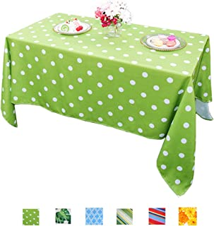 Eternal Beauty Polyester Outdoor Tablecloth Rectangular Spillproof for Fall Patio Picnic BBQ (Green Polka Dot, 60x84inch)