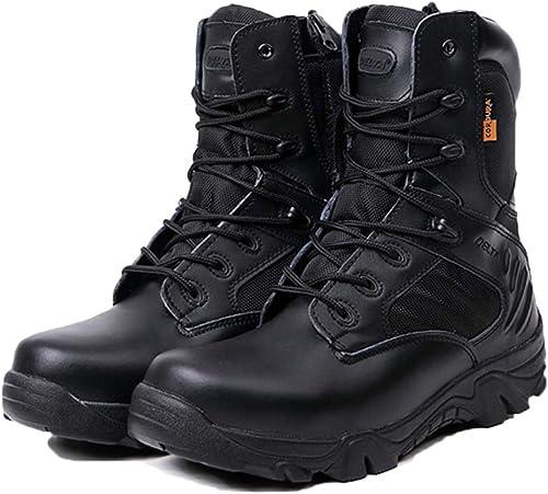 Yujingc Bottes de de de Combat pour Hommes de Travail Militaire Tactique Militaire Jungle avec Side Zip armée Patrouille Chaussures en Cuir en Plein air Delta Cadet Chaussure 244