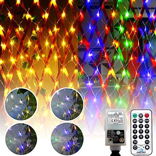 DreiWasser Lichternetz 1,5x1,5m, 100 LEDs Lichterkette Kombination von Warmweiß und RGB mit 31V Europlug für Weihnachten, Party, Geburtstag, Hochzeit Innen(Warmweiß und RGB(1,5 * 1,5))
