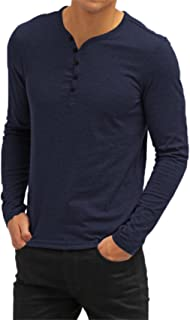 Aiyino Men's Casual V-Neck Button Cuffs Cardigan Long Sleeve T-Shirts