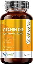 Vitamina D3 4000 UI Dosis Alta - 365 Días de Suministro, Estimula el Sistema Inmunológico, Incrementa la absorción de Calcio, Mejora la Salud de la Piel, Huesos y Articulaciones, 365 Comprimidos