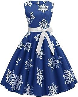 121d524016d1 COOKI Todays Deals, Women Dresses Christmas Snowflake Print Sleeveless  Vintage Cocktail Evening Party Xmas Swing