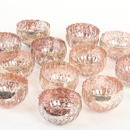 Koyal Wholesale Quecksilber-Teelichthalter, schwimmend, 12 Stück, glas, rose