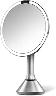 simplehuman Sensor Lighted Makeup Vanity Mirror 8in Round, 5x Magnification, Stainless Steel, Rechargeable And Cordless (Renewed)