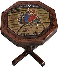 "Saarthi Rajasthani Handcrafted Camel Dhola Maru Design Handpainted Royal Hetitage Wooden Stool Cum Side Table, Cafeteria Stool (Multicolour,15"",Camel Safari)"