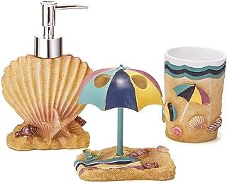 JYXR Beach Theme Bathroom Accessories Set, Including 3 Piece Resin Bathroom Accessory Set Soap Dispenser, Toothbrush Holder, Tumbler-for Man, Woman, Kids
