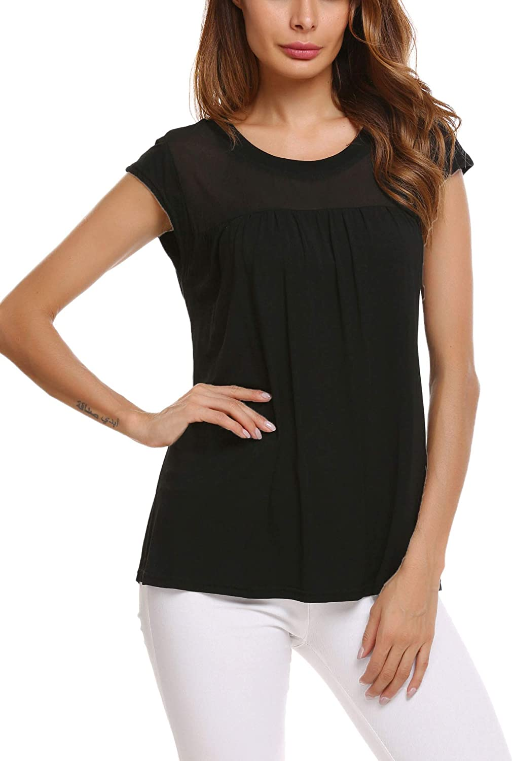 Zeagoo Womens Casual Loose Round Neck Cap Sleeve Top Chiffon Stitching Pleated Pullover Blouse