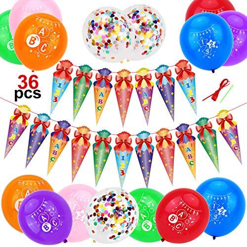 HOWAF Schuleinführung Schulanfang Einschulung Deko Set für Junge und Mädchen, Zuckertüten Girlande ABC 123 Hänge Deko Schulanfang Dekoration Banner und bunt Konfetti Luftballons