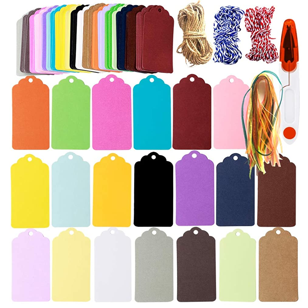 200Pcs 20Colors Gift Tags Sign with Scissors,65.4Yards String Party Favor Paper Tags Escort Cards Wishing Tree Tags Name Place Cards Hanging Sign Tags Price Tags Scrapbook Cards with Hole